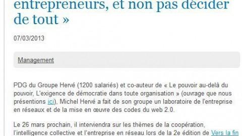 M.Hervé : « Manager, c'est aider les salariés à être entrepreneurs, et non pas décider de tout »