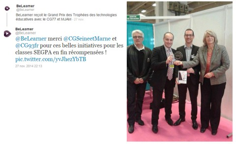 BeLearner reçoit le grand prix du Trophée des Technologies Educatives à l'occasion du Salon de l'Education 2014