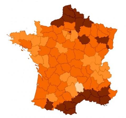 Evolution du chômage en France, département par département, depuis dix ans