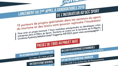 Lancement du 2eme appel à candidatures 2018  de l'incubateur ad'occ sport